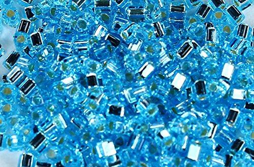 11/0 Triangle TOHO Japanese Glass Seed Beads #23- Silver-Lined Aquamarine 15g
