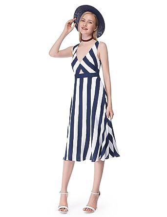 23c349465b9fd Alisa Pan Sleeveless Striped Nautical Party Dress 05676 at Amazon Women s  Clothing store