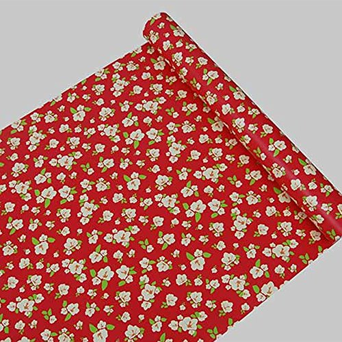 SimpleLife4U Vintage Red Contact Paper Peel & Stick Floral Shelf Liner Countertop Drawer Sticker 17.7 Inch by 9.8 Feet