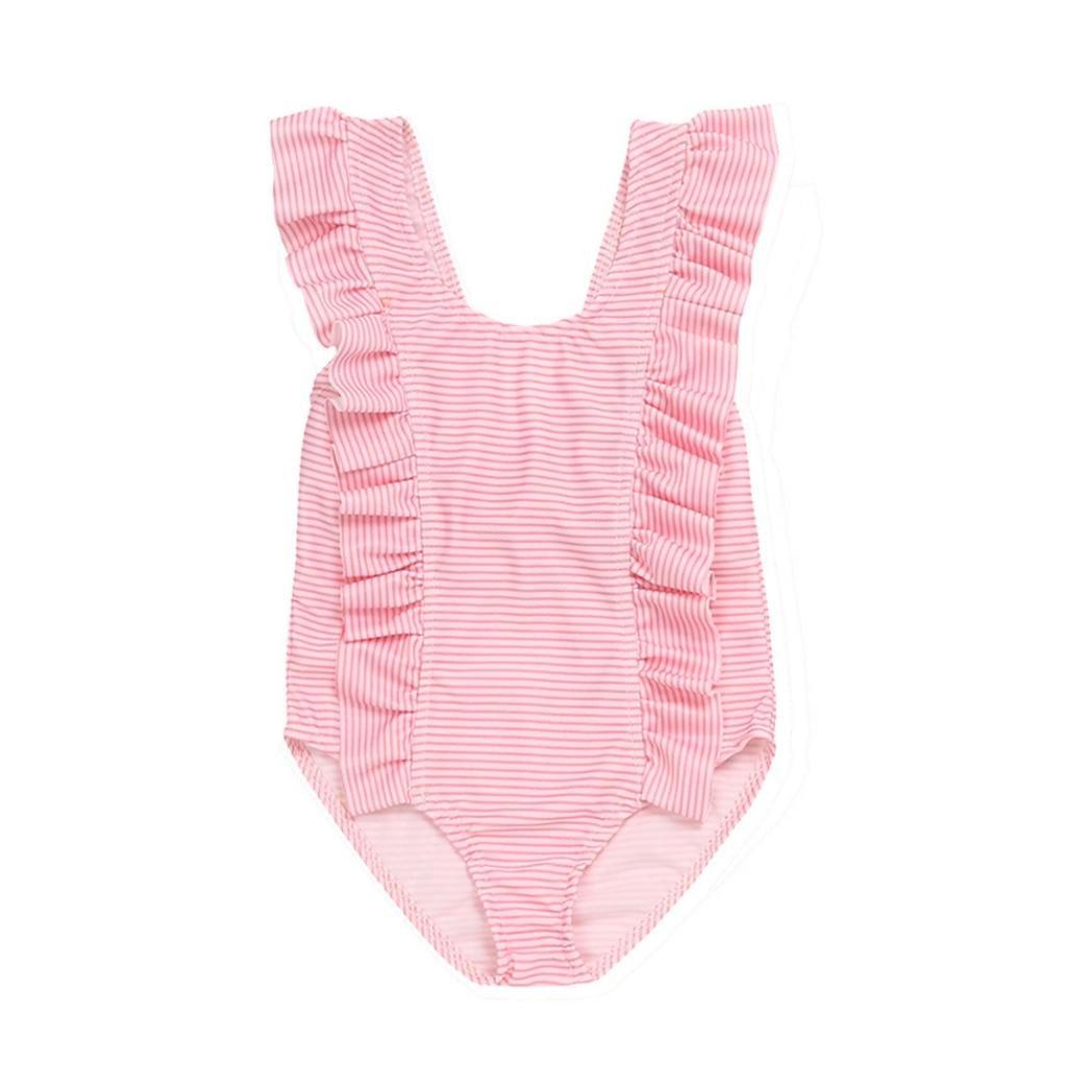 Sixcup 0-18 Months Baby Girls Swimsuit Striped One Piece Swimdress Ruffles Bathing Suit Swimwear Swimming Costume Romper