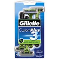 Gillette CustomPlus 3 Disposable Razor, Soothing, 4 Count, Mens Razors / Blades