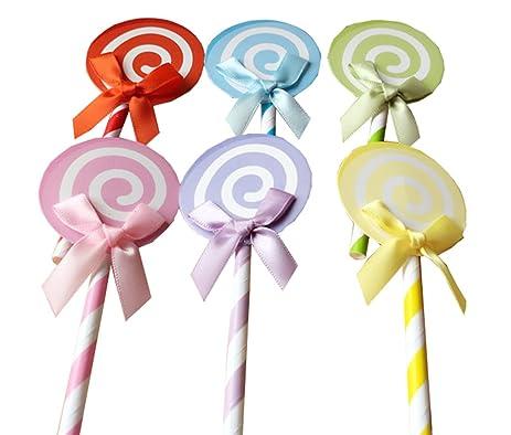 Amazon 36pcs 6colors Cute Bow Lollipop Cupcake Toppers Rainbow
