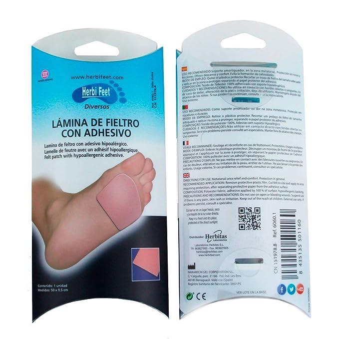 Herbifeet - Lámina de Fieltro Adhesivo para Callos y Roces ...