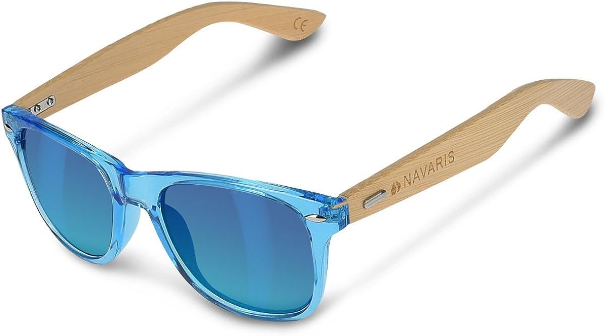 Navaris Gafas de sol UV400 - Gafas de madera para hombre y mujer - Gafas de sol con patillas de madera en diferentes colores - Negro y azul