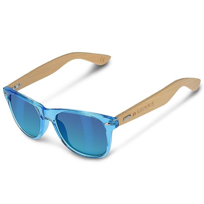 Navaris Gafas de sol UV400 - Gafas de madera para hombre y mujer - Gafas de sol con patillas de madera en diferentes colores