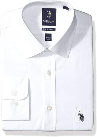 US Polo Assn. Men's Slim Fit Solid Semi Spread Collar Dress Shirt