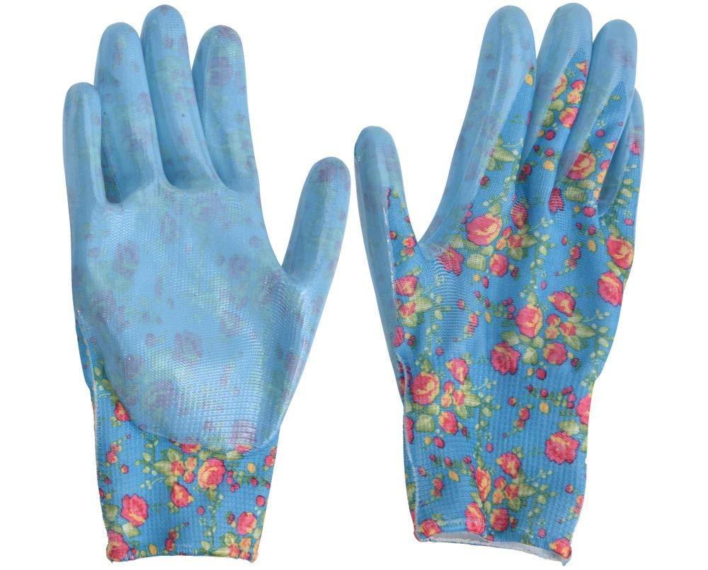 Unbekannt Gartenhandschuhe S Damen Garten Handschuhe Gartenarbeit Blumenmotiv Gr/ün Hellblau Dunkelblau Farbe:Dunkelblau