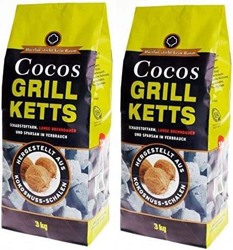 Kokos Grillkohle Cocos Briketts Kohle Kokoskohle Grillbriketts Grillanzünder 2KG