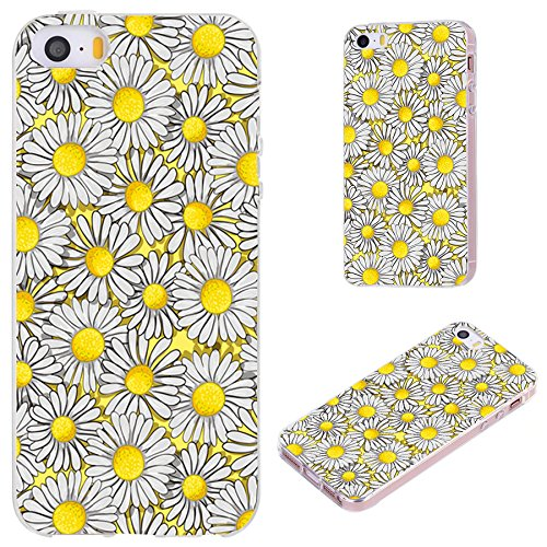 iPhone SE Case,iPhone 5S Case,iPhone 5 Case,VoMotec [Elegant Series] Anti-Scratch Slim Flexible Soft TPU Protective Skin Cover Case for iPhone 5 5S SE,Floral Flower Yellow White Daisy on Yellow (Best Friend Iphone 5 And 5c Cases)