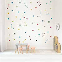 Multicolor Constellation Star Wall Decal Stars Wall Stickers Removable Vinyl Wall Stickers for Kids Rooms Decor, Colorful Decals for Wall,Galaxy Wall Art Home Decoration (Multicolor Decal)