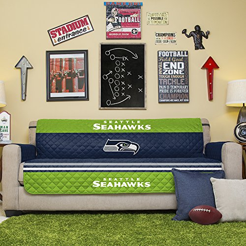 NFL Seattle Seahawks Sofa Couch Reversible Furniture Protector with Elastic Straps, 75-inches by 110-inches ()