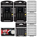Panasonic eneloop Pro (4) AA 2550mAh Pre-Charged NiMH Rechargeable Batteries & Charger + (8) Extra AA Batteries & (1) Extra Charger + (3) Battery Cases + Kit