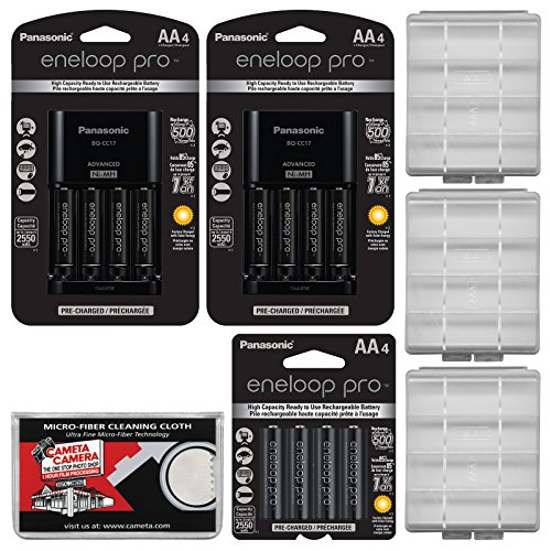 (Panasonic eneloop Pro (4) AA 2550mAh Pre-Charged NiMH Rechargeable Batteries & Charger + (8) Extra AA Batteries & (1) Extra Charger + (3) Battery Cases + Kit)