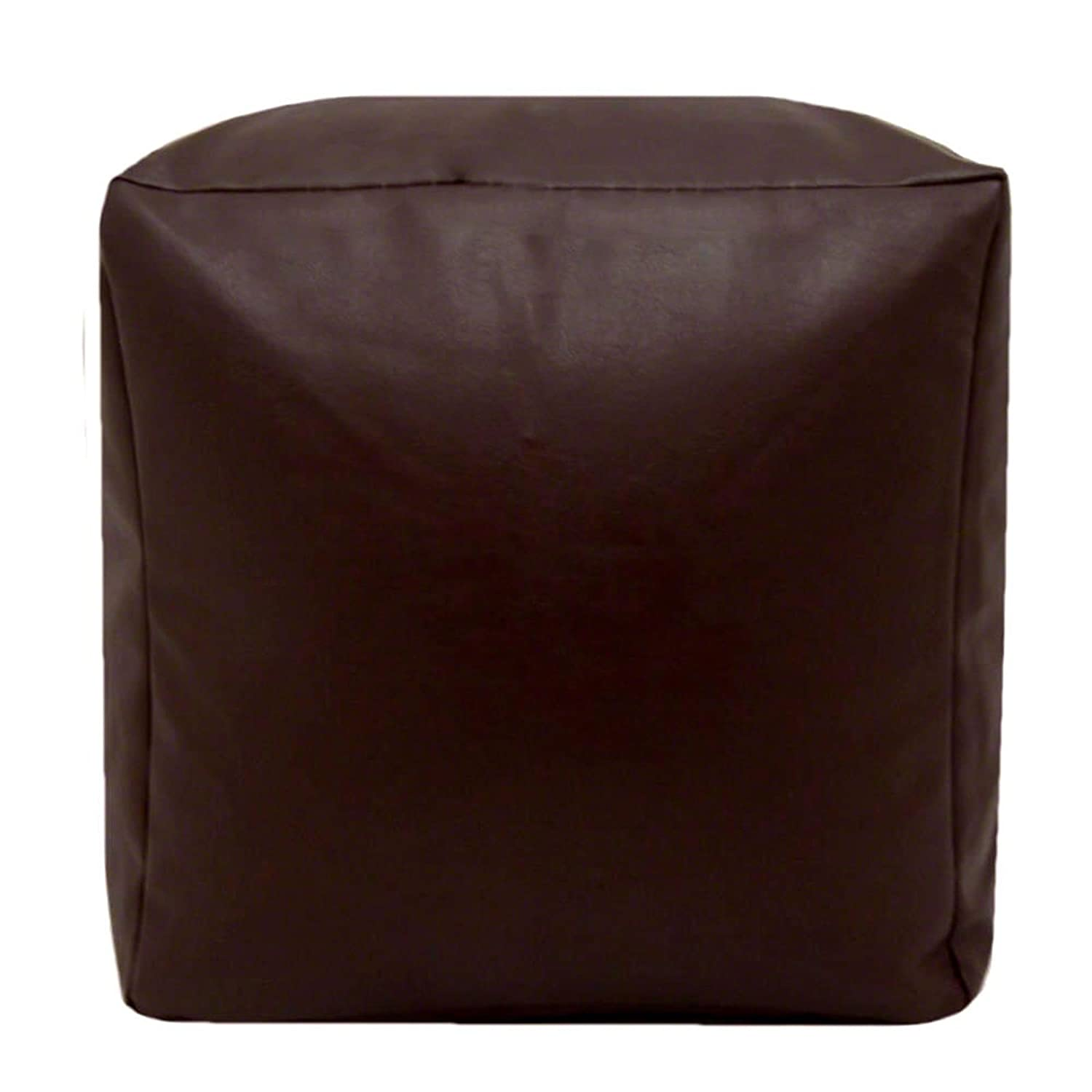 Faux Leather Brown Chequer Bean Bag Cube Foot Stool eMarkooz