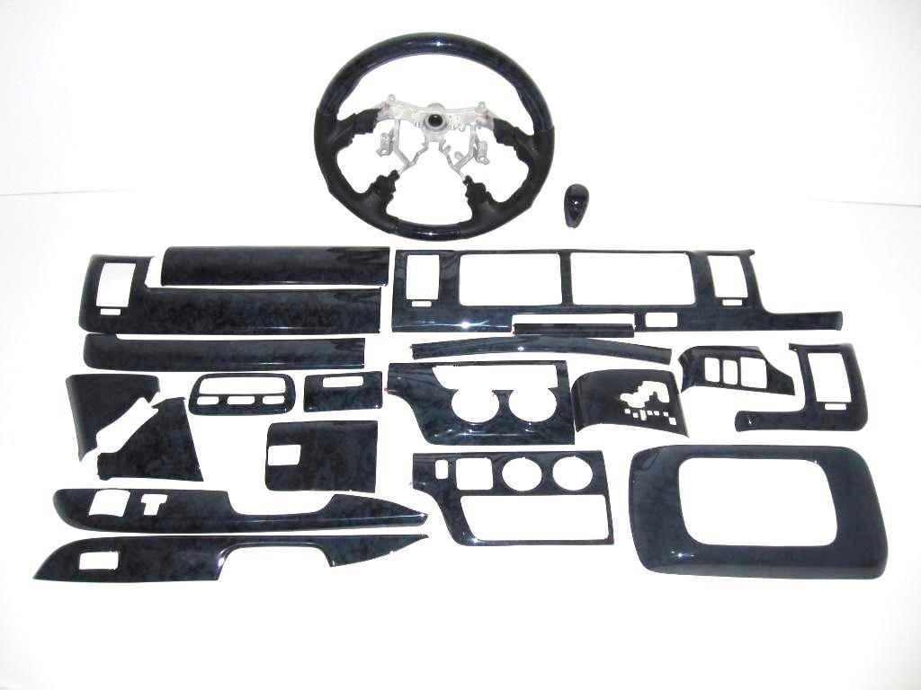 ハイエース200系インテリアパネル&ステアリング/18Pワイド黒木目/マニュアルエアコン用 B00DO3T240
