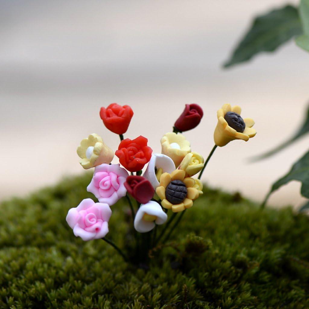 PP945 10 racimos de flores para casa de muñecas o tienda