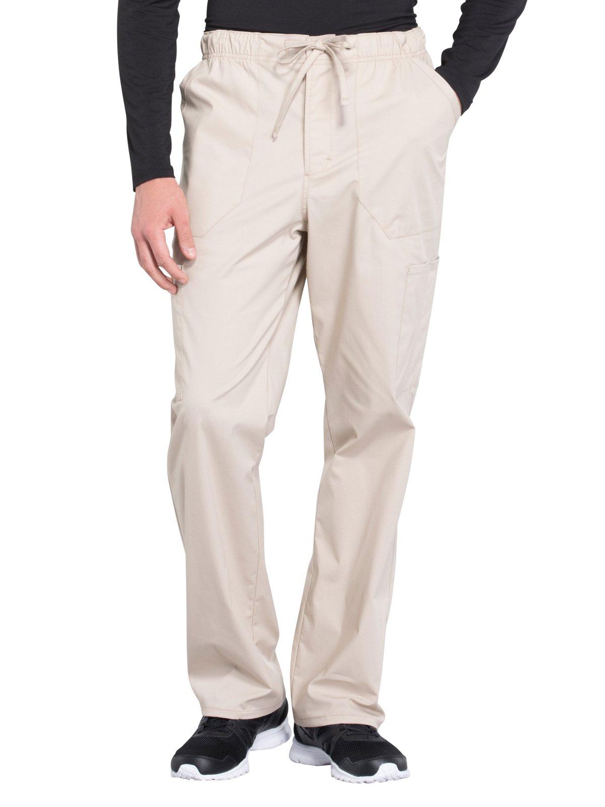 Cherokee WW Professionals WW190 Men's Tapered Leg Drawstring Cargo Pant Khaki 2XL Short by Cherokee