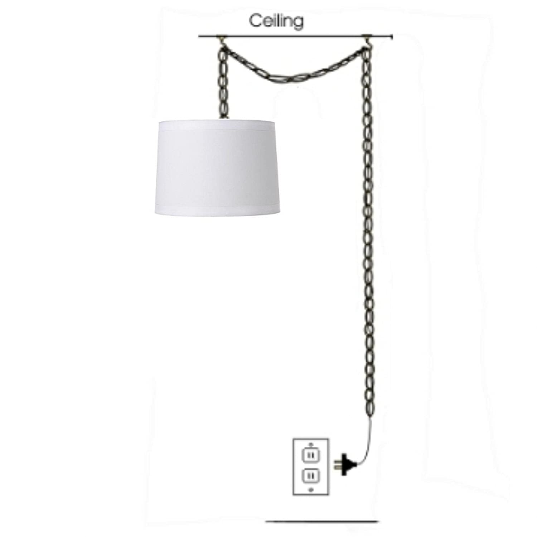 Mid century drum lampshades pendant light fixtures - Upgradelights 15 Inch White Drum Silk Lamp Shade Portable Hanging Swag Lamp Light Fixture Amazon Com