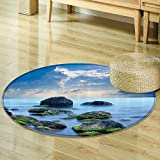 Sky Blue Circle carpet Spa Decor by Nalahomeqq Sea Stones and Mystic Seaside Caribbean Photo Print Polyester Fabric Room Circle carpet non-slip Slate Grey Sky Blue Cyan White-Diameter 60cm(24'')