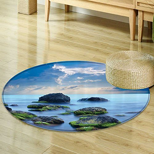0a920d65b00 Sky Blue Circle carpet Spa Decor by Nalahomeqq Sea Stones and Mystic  Seaside Caribbean Photo Print