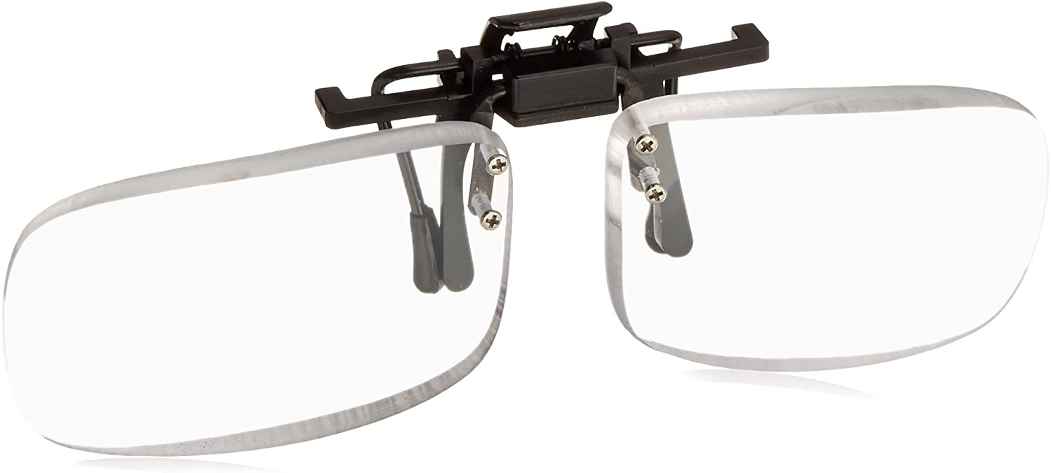 Magna-flip Clip on Flip up Magnifiers +4.50 Power Converts Distance Glasses and Into Reading and Computer Glasses