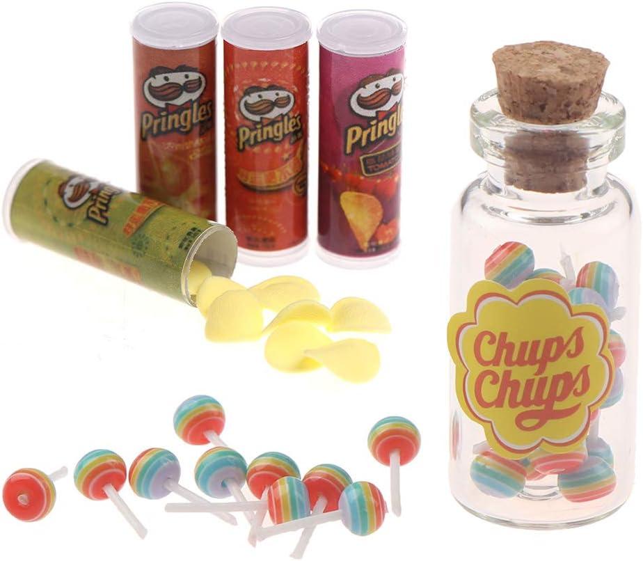 1/12 Dollhouse Miniature Food Potato Chips Bottles Lollipops Jar with Lollipops for Dollhouse Decoration Accessories Kitchen Scene Food Candy Snacks Model