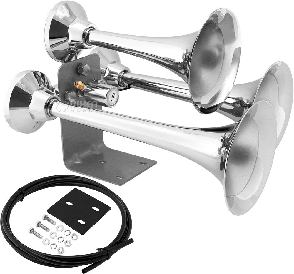 Vixen Horns Loud 152dB 3/Triple Trumpet Heavy Duty Train Air Horn with 12V Electric Solenoid Chrome VXH3318