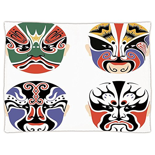 Super Soft Throw Blanket Custom Design Cozy Fleece Blanket,Kabuki Mask Decoration,Traditional Chinese Cultural Opera Mask Set Collection Asian Tribal Decorative,Multicolor,Perfect for Couch Sofa or Be (Masks Chinese Design Opera)