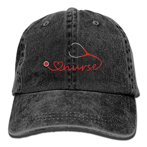 Love Nurse Stethoscope Denim Hat Adjustable Women Low Baseball Caps Black]()