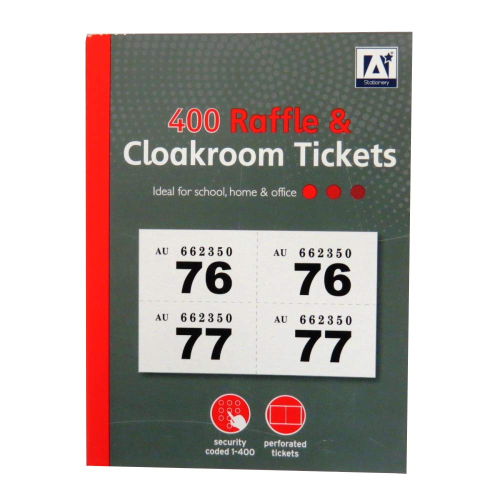 4 packs of 400 = 1600 Jumble Sale Tombola School Fete Raffle & Cloakroom Tickets