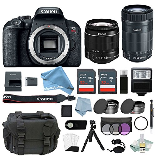 Canon EOS Rebel T7i Bundle With EF-S 18-55mm IS STM & EF-S 55-250mm IS STM Lens + Canon T7i Camera Advanced DigitalAndMore Accessory Kit - Including EVERYTHING You Need To Get Started by DigitalandMore