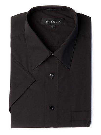 Marquis Mens Short Sleeve Solid Dress Shirt Black At Amazon Mens