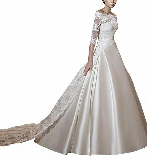 LYDIAGS - Vestido de novia - corte imperio - manga 3/4 - Mujer Blanco