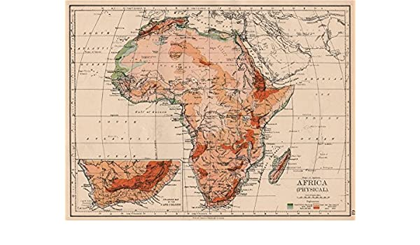 Physical Map Of Africa Rivers.Amazon Com Africa Physical Relief Ocean Depths Rivers Johnston