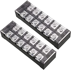 uxcell 2 Pcs 6 Positions Dual Rows 600V 45A Cable Barrier Block Terminal Strip TB-4506L