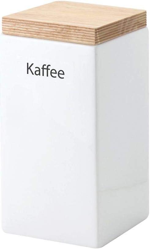 Continenta Kaffee Vorratsdose aus Keramik, quadratisch, mit Holzdeckel, luftdichter Vorratsbehälter, 1,2 Liter, Größe: 10 x 10 x 20,5 cm