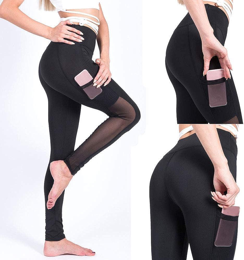 GzxtLTX Yoga Pants High Waist Mesh Sport Workout Leggings Pants Fitness Capris with Pockets