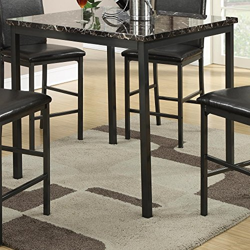Faux Marble Top Counter - Benzara BM171300 Metal Counter Height Table Faux Marble Top, Black