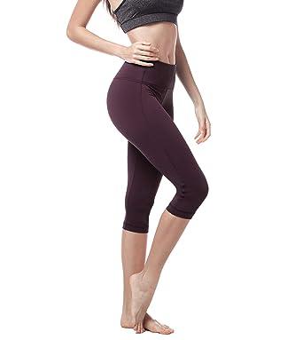 7e8b55fbc8348 Lapasa Women's Slimming Capris - SOFT WIDE WAISTBAND - Running Yoga Pants  Wide Waistband Hidden Pocket