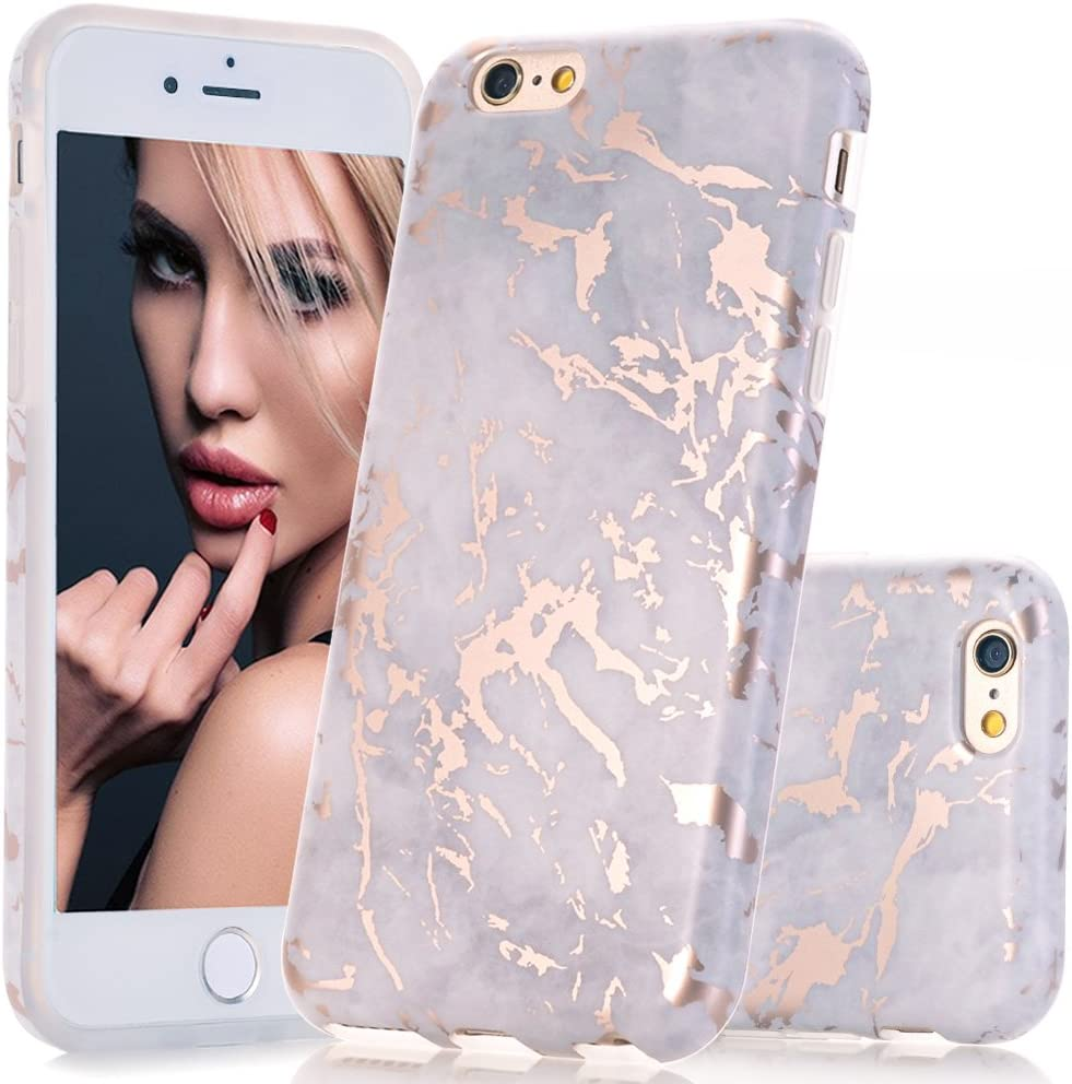 BAISRKE Shiny Rose Gold Marble Design Clear Bumper Matte TPU Soft Rubber Silicone Cover Phone Case Compatible with iPhone 6 Plus iPhone 6s Plus [5.5 inch] - Gray