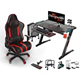 GXC Gaming Desk,Gaming Table E-sports Game Table And Chair Set, PC Gaming Desks With Mouse Pad LED Lights Cup Holder Headphone Hook Computer Mainframe Frame E-sports Suit