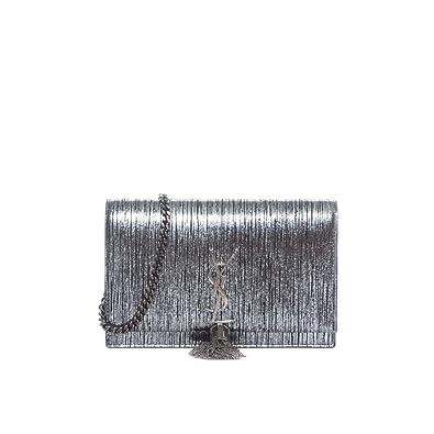 8c0e849bb07 Amazon.com: Yves Saint Laurent YSL Kate Lamé Lambskin Leather Wallet on a  Chain Silver Black Bag New: Shoes