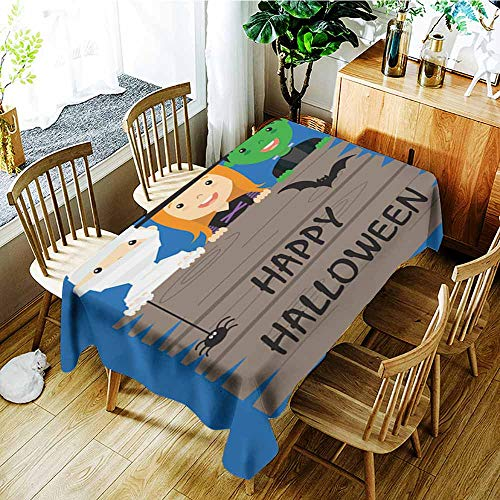 AGONIU Tablecloth for Kids/Childrens,Halloween Costume Party with Kids,Table Cover for Kitchen Dinning Tabletop Decoratio,W60x84L