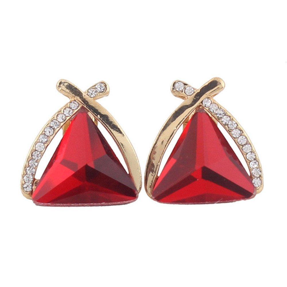 Grace Jun Fashion Bridal Rhinestone Crystal Triangle Shape Clip on Earrings Non Piercing for Women Ear Clip (Red)