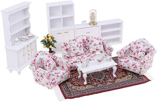 Dollhouse Living Room Furniture Brown Desk Table Clock 1//12 Scaled Model