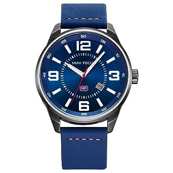 48f4723927 MINI FOCUS カジュアル 腕時計 メンズ 革 ベルト シンプル クオーツ ウォッチ (ブルー)