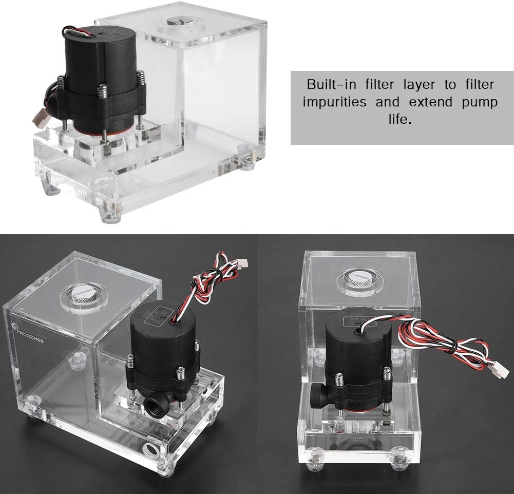 Full Transparent Integrated 600ML PC Cooled Water Pump Acrylic Low Noise Water Cooling Tank for Computer Water Cooling System 600L//H Wendry PC Water Tank