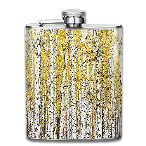 Weiheiwec 9 Autumn Birch Forest Golden Leaves Woodland October Seasonal Nature Picture Stainless Steel Hip Flask 7 OZ -