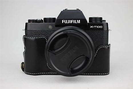 X-T100 Funda para cámara, Zakao de Piel auténtica con Apertura ...