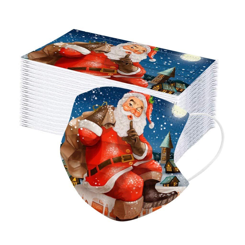 Lfore 10Piezas Adulto Impresi/ón de Patrones de Dibujos Animados de Navidad Personal Diaria Protecci/ón,para 3 Capas Transpirables con El/ástico para Los O/ídos-Lfore828